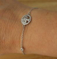 """925 Sterling Silver CZ Tree of Life Bracelet 7 """" Bridesmaids Gift Box Jewellery"""