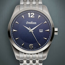 NEW Omikron 1258M Men's Swiss Made Paladin Navy Blue Steel Watch no box