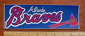 VINTAGE 1980's ATLANTA BRAVES MLB TOMAHAWK LOGO VINYL BUMPER STICKER