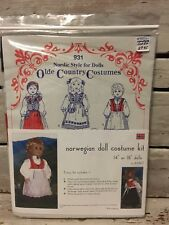 931 Nordic Style For Dolls *Norwegian Doll Costume Kit* Olde Country Costumes