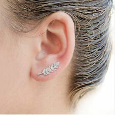 Women Vintage Exquisite Metal Golden Silver Leaf Hook Earrings Stud Earrings