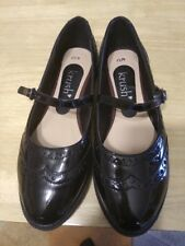 Black Krush smart patent leather buckle strap school shoes uk size 4 brand new