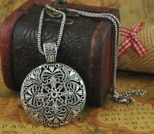 Bohemian Silver Flower Pendant Tibetan Long Necklace Vintage Style Jewelry New