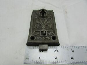 VTG Antique Cast Iron Lock Victorian Eastlake Rim Lock Floral Ornate