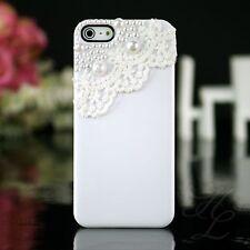 Apple iPhone 5 5s Hard Case Handy Schutz Hülle Tasche Etui Perlen 3D Weiß