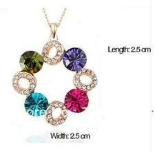 Multi-coloured Round Diamante Rhinestone Crystal Sparkly Necklace Pendant