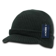 Solid Black Visor Beanie Jeep GI Military Ski Watch Cap Caps Hat Hats Beanies