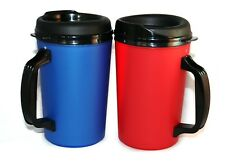 2 Foam Insulated 20 oz ThermoServ Mugs Blue & Red