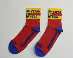"Verge XL Super Gurl Lot Of 3 Pair Cycling Socks 3"" Cuff Red/Yellow/Blue"
