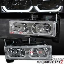 1988-1999 GMC YUKON CHEVY C10 FULL SIZE LED BAR HEADLIGHTS CHROME HOUSING