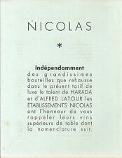 Tarif catalogue NICOLAS 1950 Latour Harada EONOLOGIE vignoble wine Draegger Vin
