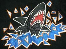 FARGO MOORHEAD ICE SHARKS varsity leather sleeve jacket USHL hockey men's L