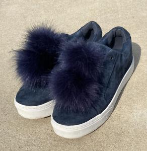 Sam Edelman Leya Blue Suede Faux Fur Pom Pom Slip On Platform Sneakers size 7.5