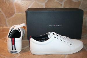 TOMMY HILFIGER LEDER SNEAKER WEISS GR. 44 Herren Schuhe        #1