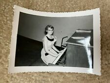Sexy Nerd Glasses Babe Perky Nips Breasts Playing Piano Vintage B&W Photograph