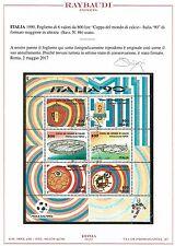 FRANCOBOLLI REPUBBLICA CALCIO 1990 FOGLIETTO £ 800 Varietà + ALTO CERT RAYBAUDI