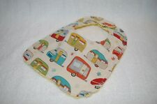 Handmade Happy Camper Trailor Camp Baby Bib 100% cotton Terry Cloth Backing