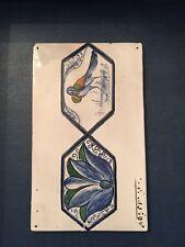 Antique Italian Tile - Istituto Di Arte - Bird Lotus - Flow Blue - Signed