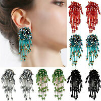 Handmade Fashion Crystal Flower Tassel Earrings Beaded Ear Stud Women Jewelry TR