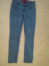 FOREVER 21 WOMENS PREMIUM DENIM BLUE PRINT SKINNY STRETCH COTTON JEANS SIZE 26