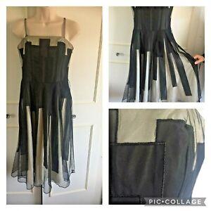 COAST - black & white monochrome party evening dress - Size 10