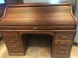 Antique Vintage Oak Roll Top Captains  Desk