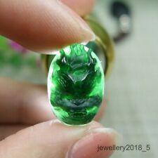 Certified Icy Black Green 100% Natural A jadeite Jade Dragon Ring face 墨翠 龙头 戒面