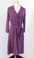 Talbots Blue Red Heart Print Faux Wrap Tie Waist Knit 3/4 Sleeve Dress Size M