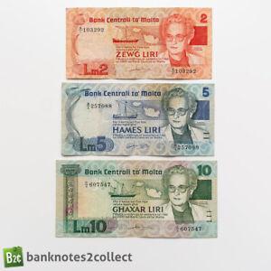 MALTA: Set of 3 Maltese Lira Banknotes.