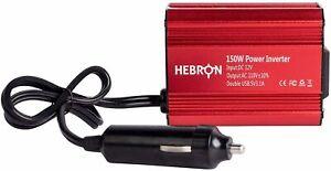 Hebron Automotive 150w Car Power Inverter - Portable 12V DC to 110V AC Charger -