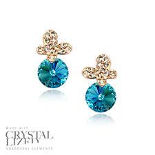 OCEAN BUTTERFLY Swarovski Elements Crystal 18-KRGP Gold Plated Stud Earrings