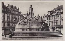 PRAGUE, CZECH. STATUE OF JOHN HUS. VINTAGE REAL PHOTO POSTCARD
