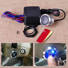 Blue LED Light 12V Panel Engine Starter Push Button Switch Kit Fit For Car Auto