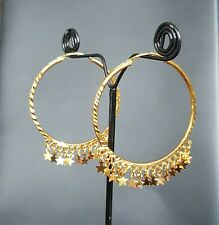 Large Hoop Earrings.45mm Indian Style Stunning 22k Yellow Gold Plated