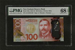 2015-16 New Zealand Reserve Bank 100 Dollars Pick#195a PMG 68 EPQ Gem UNC