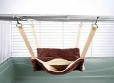 Fluffy Lined Pouch Hammock for Ferret Chinchilla Bed Toy House Luxury Chocolate