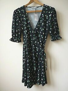 Ex Oasis Black+Cream Ditsy Floral Print Front Wrap StretchyMini Dress Size 6/8