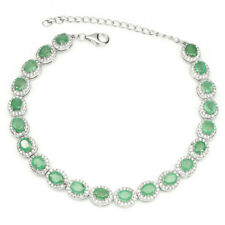 Unheated Oval Green Emerald 5x4mm Cz 925 Sterling Silver Bracelet 7.5in