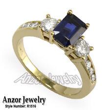 14k Yellow Gold Sapphire Diamond Engagement Ring #R 1516