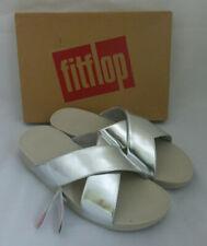 New Fitflop Lulu Cross Slide Sandals Silver Mirror Shiny Slip On Ladies Box Sz 7