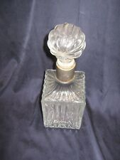 New listing * Lqqk * Vintage Square Fluted Glass Decanter with Metal Collar & Round Stopper
