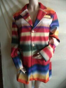 Woman's Southwestern Print Jacket Multi-color Stripes Poly/Cotton Size XL NIP
