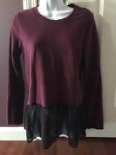 Victoria's Secret Ruffle Sweatshirt Purple With Black Ruffle Soft Fleece Size XS