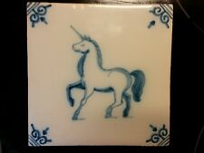 Copy of a Antique Dutch animal Unicorn tile from 17th century