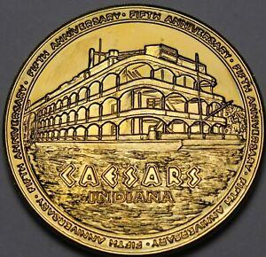 Césars Palace Indiana Plaqué Or 5th Anniversaire 38.5mm Gem UNC Médaillon~