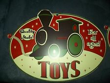 Vintage Toy Train Locomotive Metal Christmas Sign Quality Made Toys for All Ages