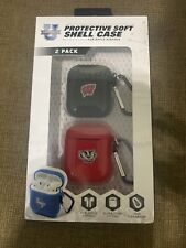 Wisconsin Badgers Ncaa Protective Soft Shell Case For Apple Airpods - 2 Pack