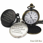 Personalised Engraved Pocket Watch Fathers Day Wedding Birthday Gift Best Man