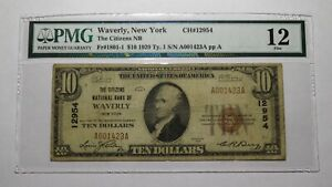 $10 1929 Waverly New York NY National Currency Bank Note Bill #12954 F12 PMG