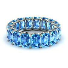 3.40Ct Genuine Real Blue Topaz Gemstone Eternity Band 14K White Gold Size 5 6 7